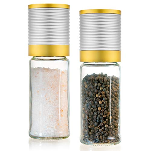 Premium Salt and Pepper Grinder Set - 2 Aluminum Manual Salt and Pepper Mill with Ceramic Rotor - Tall salt and pepper shakers, 6 Oz Glass