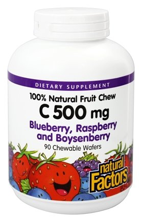 Chewable Factors - Natural Factors - C 100% Natural Fruit Chews Blueberry, Raspberry and Boysenberry 500 mg. - 90 Chewable Wafers