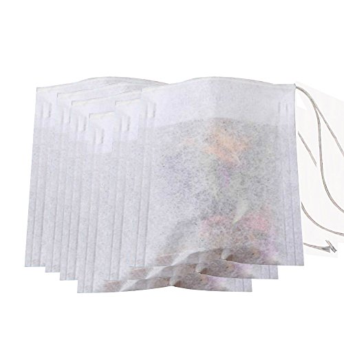 Pack of 100pcs Disposable Empty String Drawstring Tea Dregs Filter Paper Bags for Loose Tea Herbs Spice Bouquet Garni Potpourri Sachets Bags (2.76 x - Sachet Accessories Bags