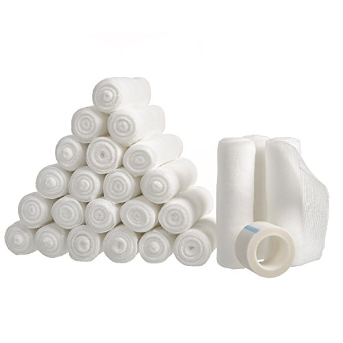 24-Pack Gauze Stretch Bandage Rolls with Medical Tape Included, Medical Grade Sterile (First Aid Tape Gauze & Pads)
