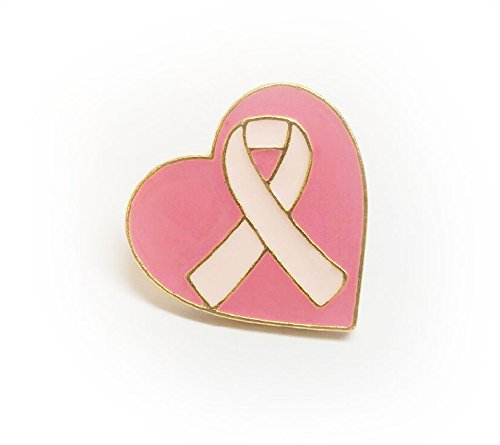 Breast Cancer Awareness Pink Ribbon Heart Lapel Pin