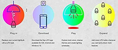 LIFX + (A19) Wi-Fi Smart LED Light Bulb with Infrared for Night Vision, Adjustable, Multicolor, Dimmable, No Hub Required, Works with Alexa