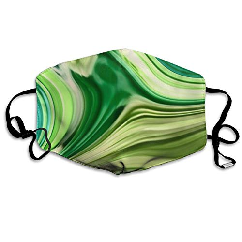 """Whages Modern Trendy Abstract Turquoise Lime Green Swirls Washable Reusable Safety Breathable Mask, 4.3"""""""" × 7.1"""""""", Adjustable Earrings for Running, Allergies, Flu"""