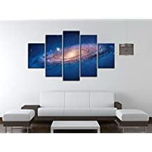 5 Panel Modern Abstract Wall Art Dark Universe Photo Canvas Prints Galaxy Colorful Space Star Canvas Oil Painting for Bedroom Decor No Frame