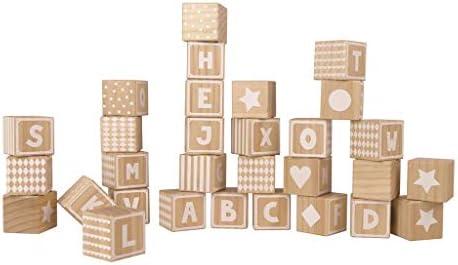 Jabadabado W7108 Wodden Alphabet Blocks Multi-Colour Black /& White