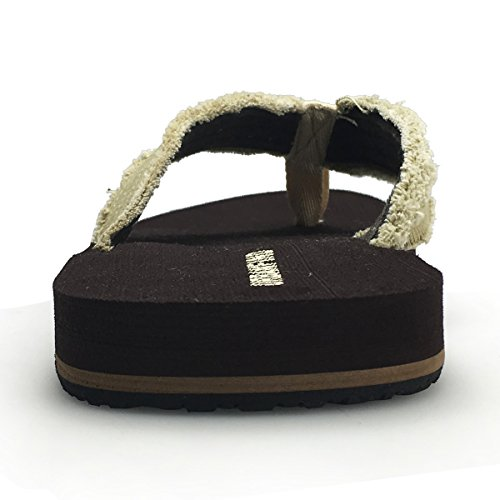on Thong Slide Slippers Canvas Flip Flops Mens Sandals Brown URBANFIND Flat CxnfBU8q8w