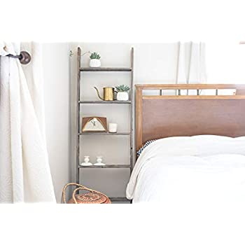 BarnwoodUSA Rustic Farmhouse Decorative Ladder - Our 5 ft Wide Ladder can be Mounted Horizontally or Vertically  Crafted from 100% Recycled and Reclaimed Wood   No Assembly Required   Weathered Gray