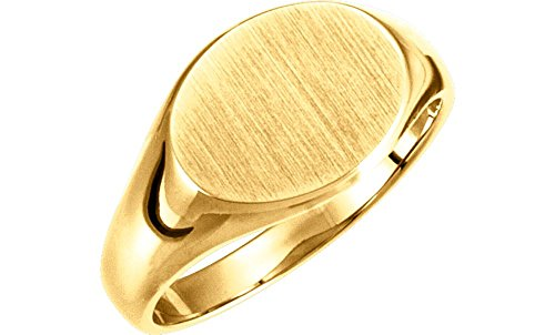 Jewels By Lux 10K Yellow Gold 9x11mm Solid Oval Signet Ring
