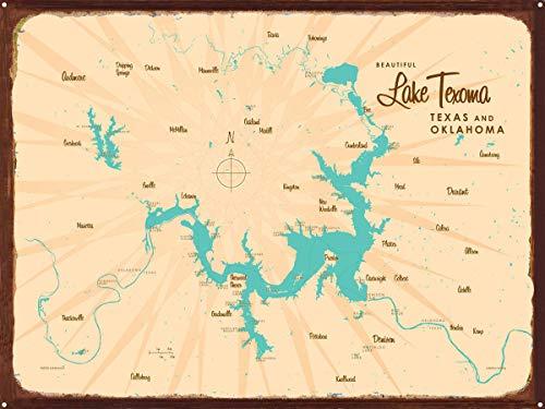 Lake Texoma TX Oklahoma Vintage-Style Map Rustic Metal Art Print by Lakebound (18