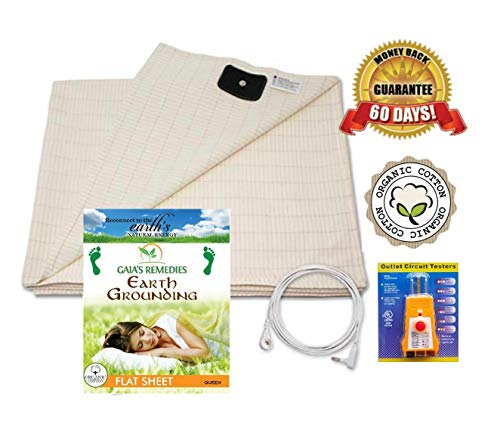 Earthing Grounding Flat Sheet (Queen Size) with Cord and Outlet Tester - Organic Cotton with 5% Silver Fiber for Grounding, Better Sleep, Earth Connection, Pain Relief, Reduced EMF- Ion Exchange from Gaia's Remedies
