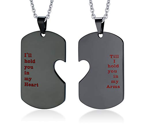 PJ Stainless Steel I'll Hold You in My Heart Puzzle Piece Heart Matching Couple Dog Tag Necklace ()