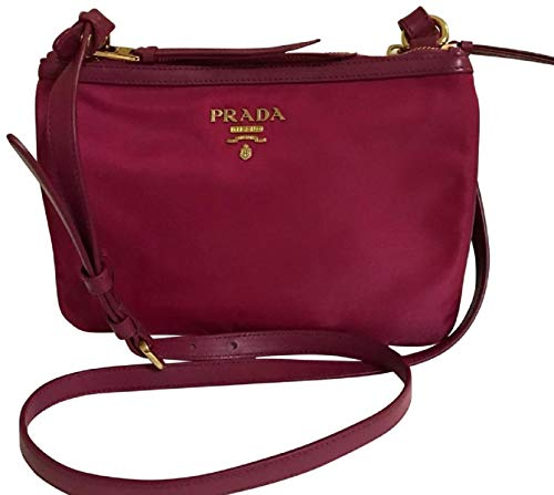 Prada Nylon Leather Ibisco (Pink) Double Zipper Crossbody Bag 1BH046 ()