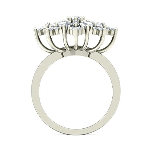 18 K Or Blanc, 1.24 carat rond et diamant sertie d '(IJ | SI) Cocktail en diamant