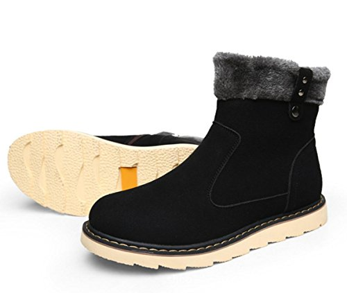 El nuevo color sólido más cálido terciopelo botas masculinas en forma de bota botas casuales modelos de botas para la nieve de invierno antideslizantes Black