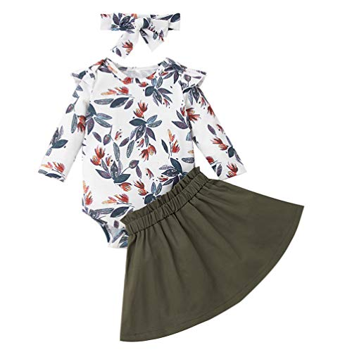 Newborn Baby Girls Outfit Ruffle Floral Romper+Solid Skirt+Headband Clothes Set