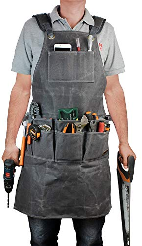 Improved Work Apron, Waxed Canvas Hand Tools Organizer Apron, Heavy Duty Shop Bib with Cross-back Straps for Men or Women Adjustable from S to XXXL- Best Gift for Father Day or Mother Day