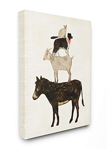 (The Stupell Home Décor Collection Donkey Goat Dog and Cat Barnyard Friends Stacked Farm Animals Stretched Canvas Wall Art, 16 x 20, Multi-Color)