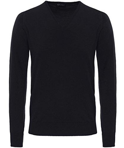 John Smedley Men's Merino Wool V-Neck Bobby Jumper XXL Black by John Smedley
