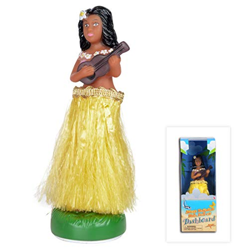 WEY&FLY Hawaiian Hula Girl with Ukulele, Bobble Head for Cars, Dashboard Bobble Shaker Doll, Collection Figurines Gifts for Decoration Souvenirs (Yellow)