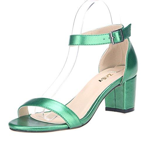 ZriEy Women's Fashion Buckle Mid Chunky Heel Sandals Grass Green size 8.5 - Womens Green Mid Heel