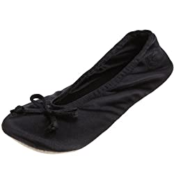 Isotoner Women's Classic Satin Ballerina Slipper, Large Black