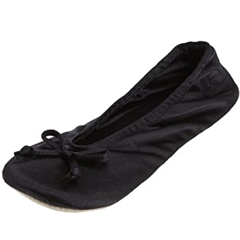Isotoner Women's Classic Satin Ballerina Slipper, Large Black 0