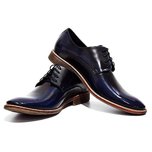 Cuir Modello Marine de pour Hommes Handmade Italiennes Ponte Oxfords Chaussures Vachette Cuir Verni Cuir Bleu des Lacer rq1pqBt