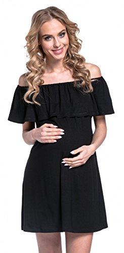 Happy Mama. Mujer Vestido en Capas Volante Premamá Lactancia Cuello Bardot. 624p Negro