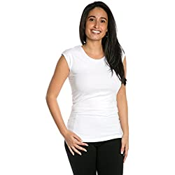 Cap Sleeve Extra Length Layering Tee Reversible Scoop Neckline Comfy Slim Fit (White, M)