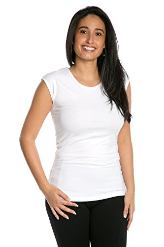 Waist Nylon Knit Shirt - Cap Sleeve Extra Length Layering Tee Reversible Scoop Neckline Comfy Slim Fit (White, L)