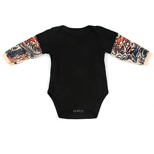 Infant Toddler Baby Boy Girl Tattoo Printed Sleeve Romper Bodysuit Jumpsuit -
