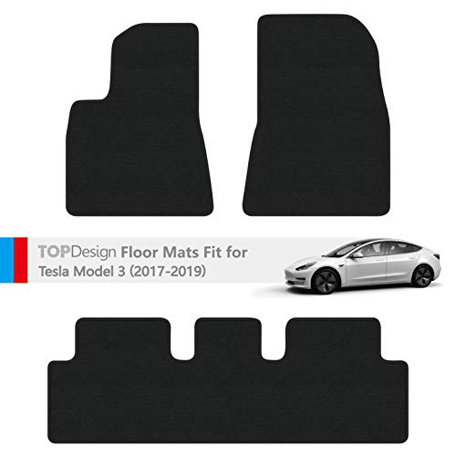 TOPDesign Hand-Stitched Carpet Car Floor Mats for Tesla Model 3 Custom Fit (Black and Black Color Double Sewing Binding)