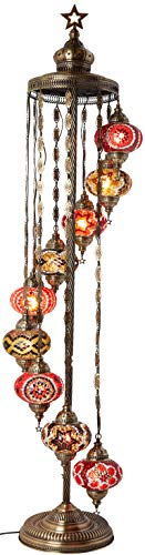 - DEMMEX - 9 Big Globes Turkish Moroccan Mosaic Floor Lamp Light, Bohemian Boho Tiffany Mosaic Floor Lamp with North American Plug & Socket, 65