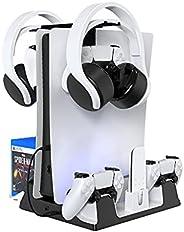 Suporte de carregador multifuncional adequado para console PS5. Existem 4 ventiladores de resfriamento de host