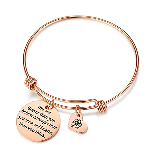Women Girls Jewelry You are Braver Stronger Smarter Than You Believe Think Seem Bangle Bracelets with Tree of Life Charm for Women, for Friends, Sister, Mom, Daughter -