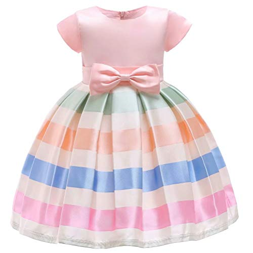 Elegant Floral Girl Wedding Party Striped Dresses for Girls 2-8 Years -