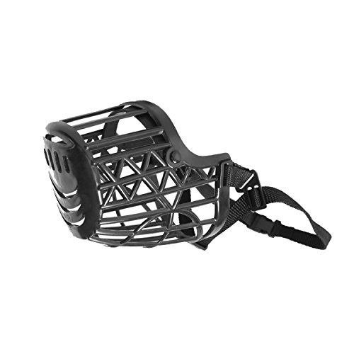 Image of Downtown Pet Supply Basket Cage Dog Muzzle Size 3 - SMALL - Adjustable Straps - BLACK
