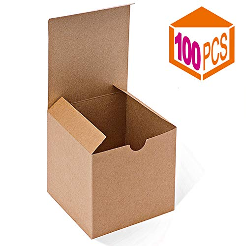 MESHA Kraft Brown Boxes 100 Pack 4 x 4 x 4 Inches, Paper Gift Boxes with Lids for Gifts, Mugs, Cupcake Boxes ()