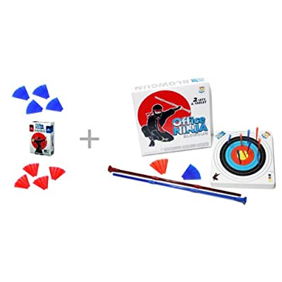 Unitech Toys Office Ninja Blowguns Game with Soft Ammo and a Target plus extra Ammo Refill: Super Fun, Addictive Blowgun Competition Game for Two People or a Group Indoor: Sports & Outdoors