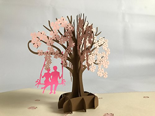 lover in a dogwood Dollar Many Rose Handmade Creative Kirigami & Origami 3D Pop UP Greeting & Gift Cards Thank You Cards