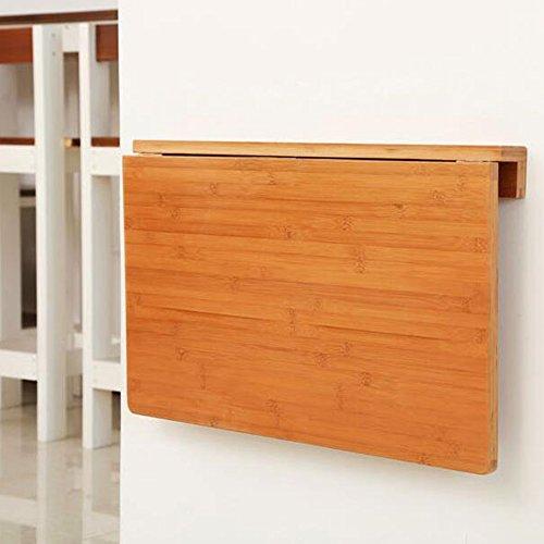 ZR-Mesa de Pared Mesa de bambú para Colocar en la Pared, Mesa Plegable de Cocina y Mesa de Comedor, Mesa de Madera Maciza para Niños, 6 Tamaños -Ahorra Espacio (Color : Madera, Tamaño : 75*45cm)