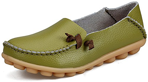 Moccasins Women's Casual Driving LabatoStyle Green Shoes Loafers Leather Flats 6wqxzX