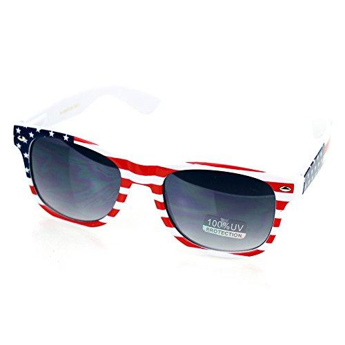 Classic American Flag Patriotic Wayfarer Vintage Sunglasses (W690-American Flag, - Star All Sunglasses