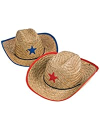 Childs Straw Cowboy Hat with Plastic Star - 12 Pieces