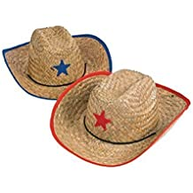 Fun Express Childs Straw Cowboy Hat with Plastic Star - 12 Pieces