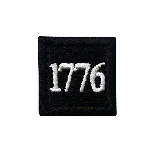 1776 American Independence Emblem Tactical USA Morale Embroidered Applique Fastener Hook&Loop Patch - Black