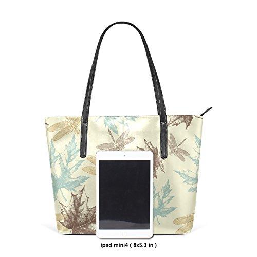 COOSUN Herbst Maple Leaves Anddragonfly Pattern PU Leder Schultertasche Handtasche und Handtaschen Tote Bag für Frauen