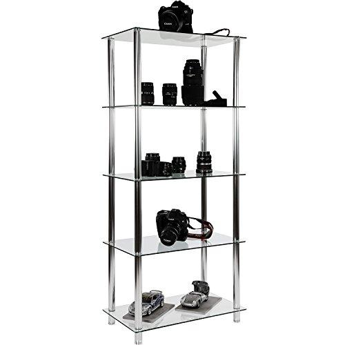 STILISTA® Designer Regal, (H) 137 cm x (B) 60 cm, 5 Ebenen, 5mm Sicherheitsglas, Aluminium Tubes verchromt