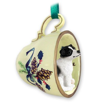 (Jack Russell Terrier Black & White W/smooth Coat Tea Cup Green Holiday Ornament)