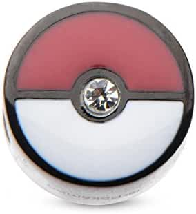 Pokemon Pokeball Black PVD Plated Bead Stainless Steel Charm